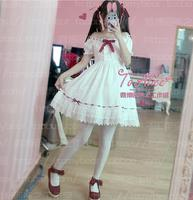 Japanese Lolita Cute Chiffon Dress 2016 Women Lovely Soft Sister Red Drawstring Lace White Dress Bow