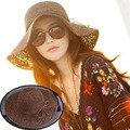 2016 Nueva Banda mujeres Hollow Crochet Sombreros Cúpula Verano de Malla Para Las Mujeres Sombrero de Paja Plegable Sombrero para el Sol Sombrero de la Playa Fashio
