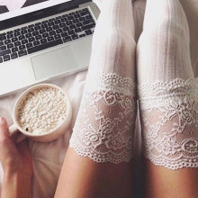 Sexy Women Girl Lace Floral Thigh High Over Knee Stockings Leg Warmer Knitted High Boot Thigh Black Stocking(China)