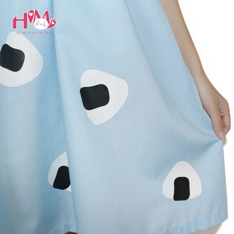 Japan Style Womens Summer Dress Harajuku Young girl Air blue Doll Collar Laver Rice Vegetable Print Princess Cotton Dresses 7
