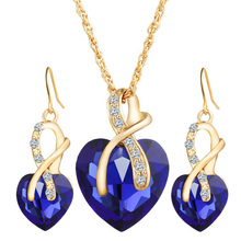 Austrial  Crystal Heart Pendant Necklace Earrings Jewellery Set  Gold Plated Jewelry Sets For Women Bridal Wedding Sets 2016 S1