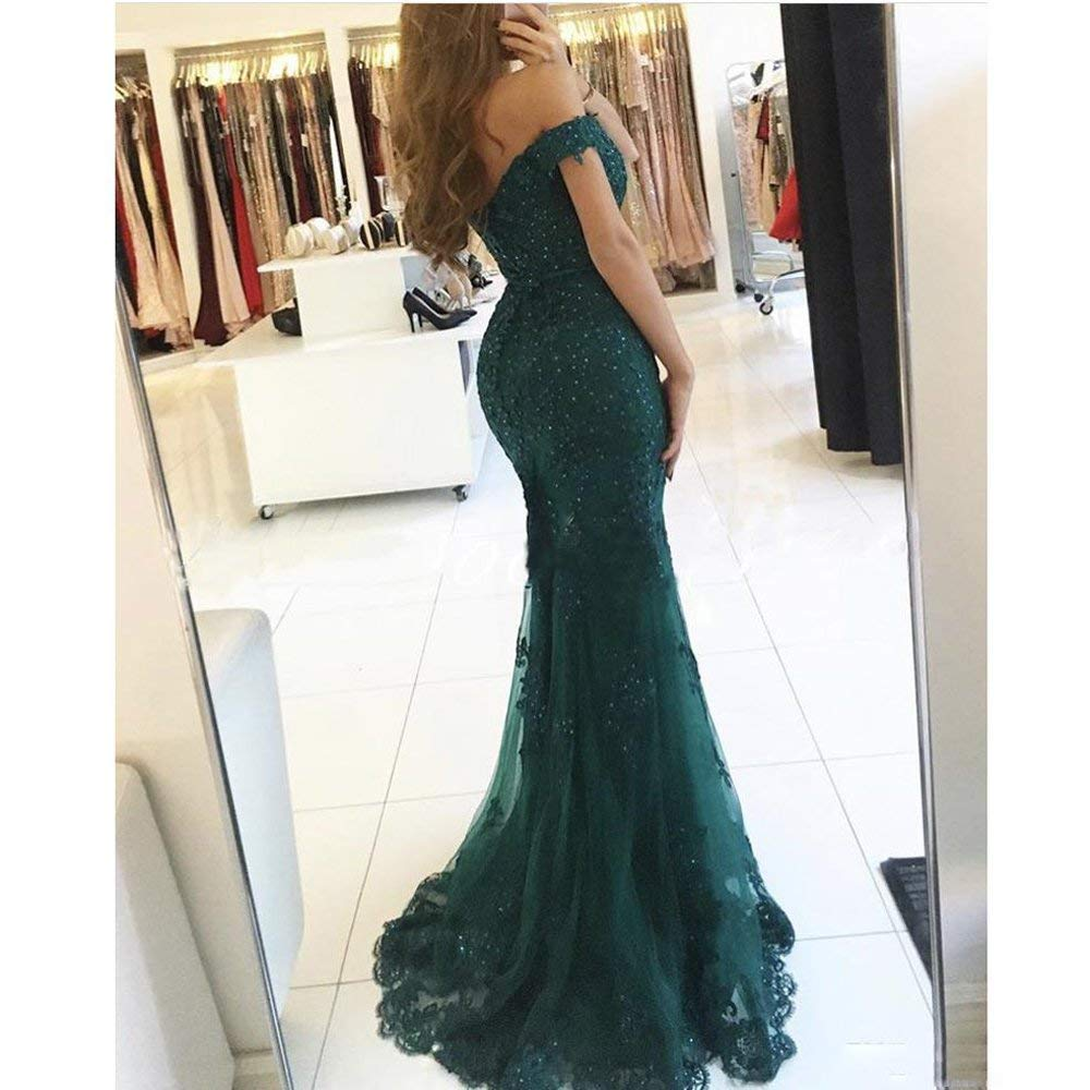 Dark Green Evening Dress vestidos largos Lace Beaded Islamic Dubai Lebanon Mermaid Elegant Long Evening Gown 2019 - 3