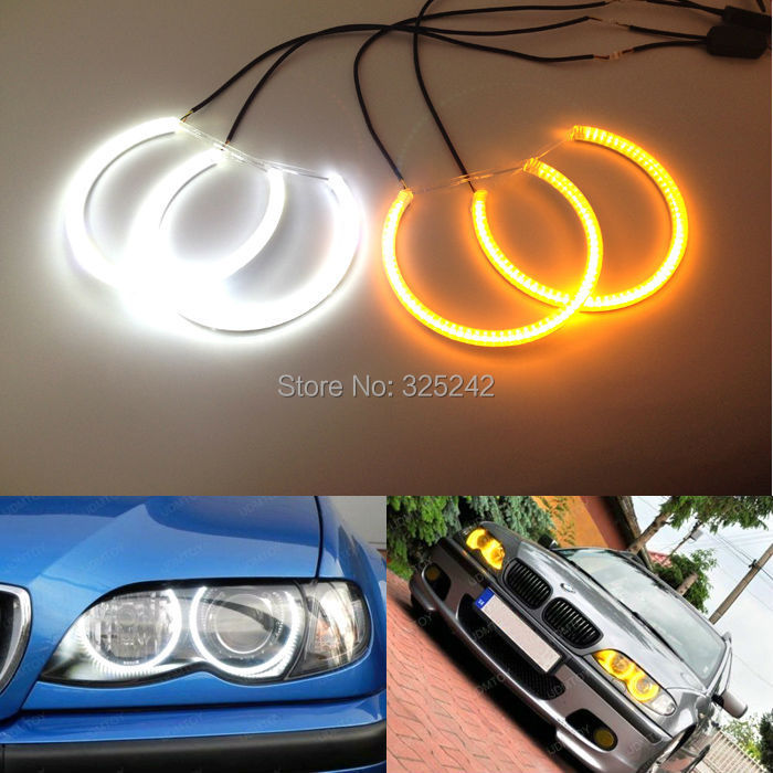 Pour BMW E39 520i/525i/528i 1997-2003 Excellent phare xénon double couleur Switchback smd LED Angel Eyes Halo anneaux Kit