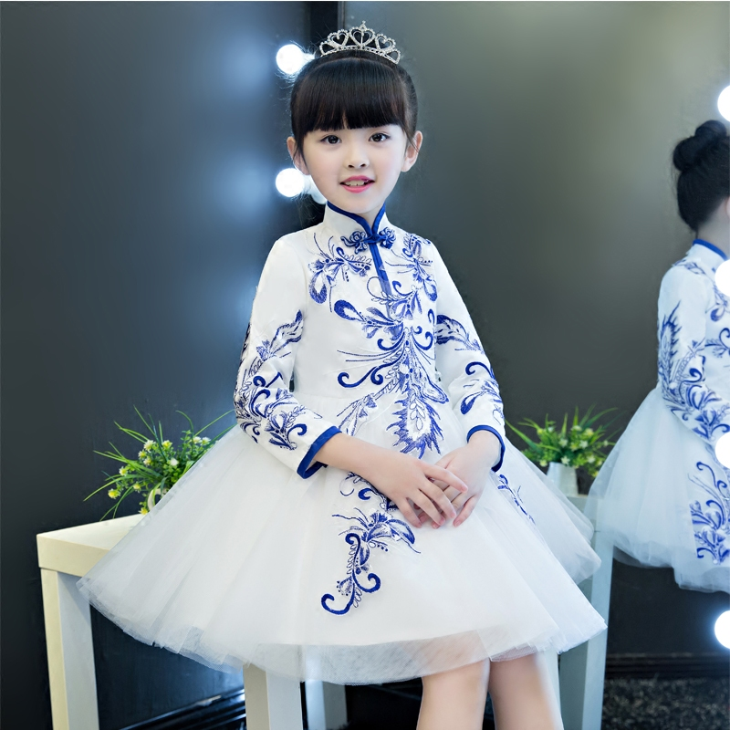 2017 New Children Girls Luxury Embroidery Flowers Princess Mesh Dress Kids Birthday Wedding Evening Party Ball Gown Tutu Dress