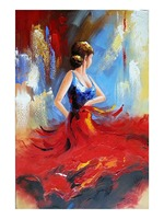 Modern Abstract Dancing Girl Oil Painting on Canvas Flying Skirt Wall Art Picture for Home Decoration No Framed Hand Made