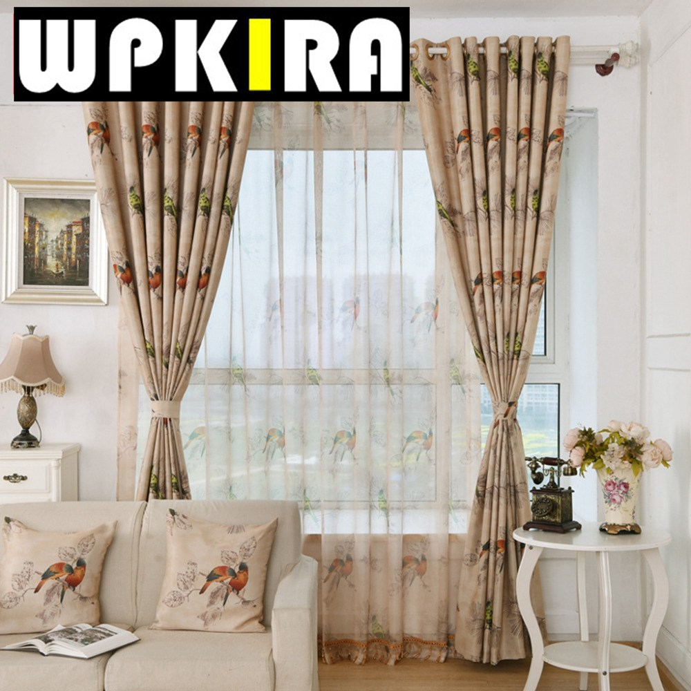 Printed curtains living room - Pastoral Coffee Carton Bird Pattern Print Curtain Home Window Shade Cloth Room Darkening Bedroom Living Room
