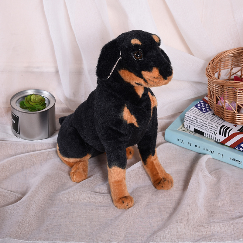 new style toy about 44cm squatting Rottweiler simulation dog plush toy soft doll Christmas gift w1001