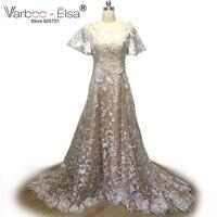 יוקרה VARBOO_ELSA חרוז תחרה בת שרוול שמלת חתונה 2017 ערבית בת ים כלה שמלה בעבודת יד חרוז sweepTrain Robe De Mariage