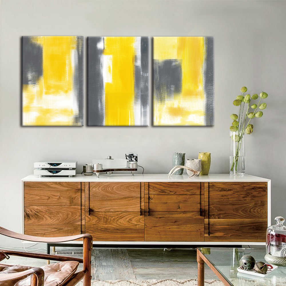 3 Panel Abstract yellow Poster Scandinavian Canvas Painting For Living Room Wall Picture Art Printed Modern Nordic Home Decor