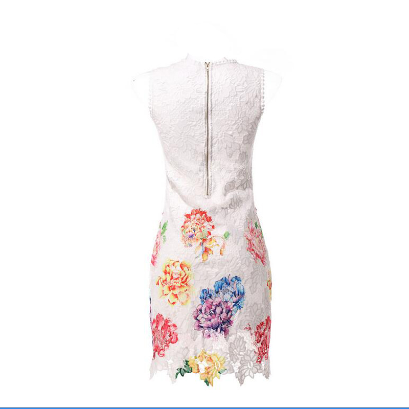 SORCHIDF Wholesale Women Sexy Lace Flower Printed Dresses cheap clothes china O neck Sleeveless Summer Mini Beach Party Dress