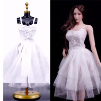 1 6 Scale Action Figure Accessory Female White Evening Dress For Jiao Doll Phicen Middle Breast