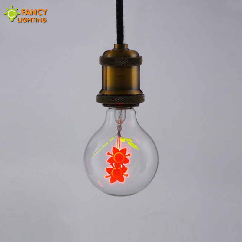 Vintage decorative lamp E27 G80-Flower retro lamp 220V holiday light bulb for home/bedroom/dining room decor incandescent bulb