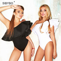 Julissa Mo 2016 Plissado Playsuit Macacãozinho Womens Jumpsuit Bodysuit Mulheres Black White Sexy Elegante Bodycon Combinaison Femme