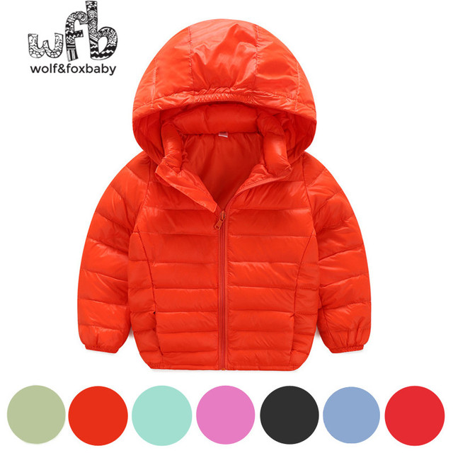 Retail 2-8 years children Down jacket full-sleeves solid color Candy colors Keep warm coat kids spring autumn fall winter