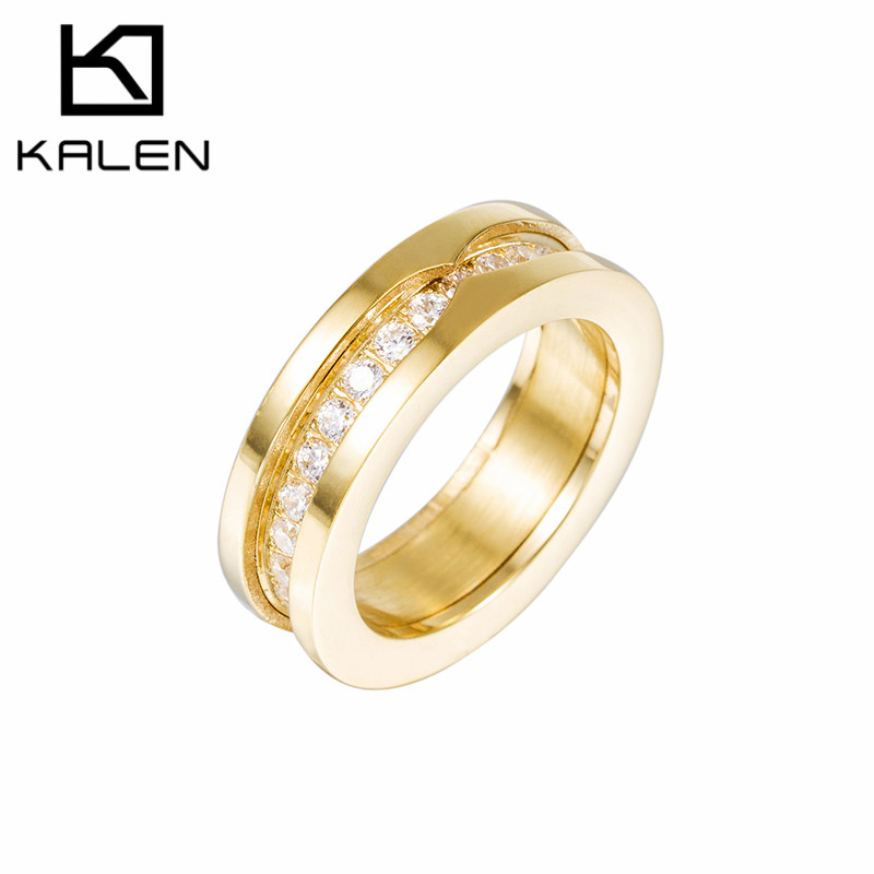kalen rhinestone rings stainless steel pakistani gold color casting rings good quality engagement wedding party rings - Wedding Ring Price