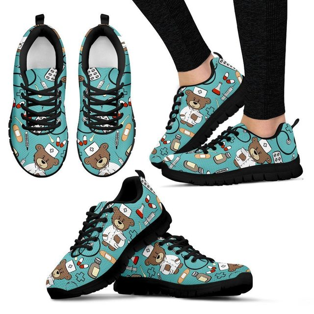 FORUDESIGNS Women Flats Shoes Cartoon Nurse Bear Printed Mesh Lace-up Casual  Shoes Comfortable 2018 Woman Ladies Sneakers Shoe cab9b8f38176