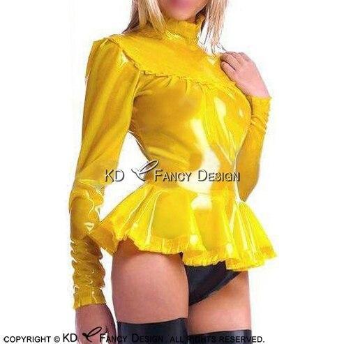 Желтый сексуальный латекс блузка с пуфы рукава оборками резиновая рубашка верхняя одежда Костюмы YF 0157