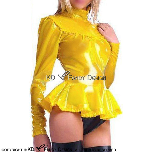 Yellow Sexy Latex Blouse With Puffs Sleeves Ruffles Rubber Shirt Top Clothes Clothing YF-0157