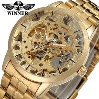 Winner Brand Gold Mechanical Watch Male Skeleton Watch Golden Men S Luxury Brand Watch Stainless Steel