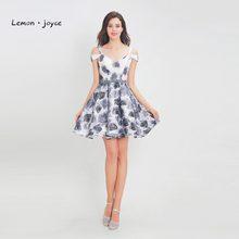 43435953d0 Lemon joyce Formalna Kwiatowy Print Krótkie Sukienki V-Neck Off The  Shoulder Bez Rękawów-line Mini Party Dress Sukienka Koktajlo.