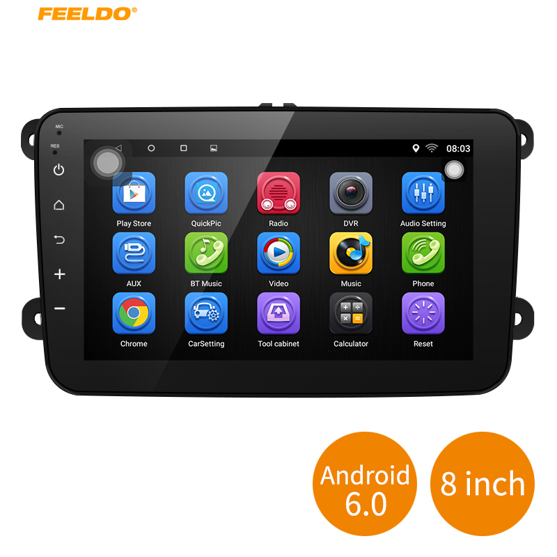 FEELDO 8inch Ultra Slim Android 6.0 Quad Core Car Media Player With GPS Navi Radio For Skoda Octavia/Seat/Altea/Leon/Tolendo feeldo 7inch android 4 4 2 quad core car media player with gps navi radio for nissan hyundai universal 2din iso gift am3900
