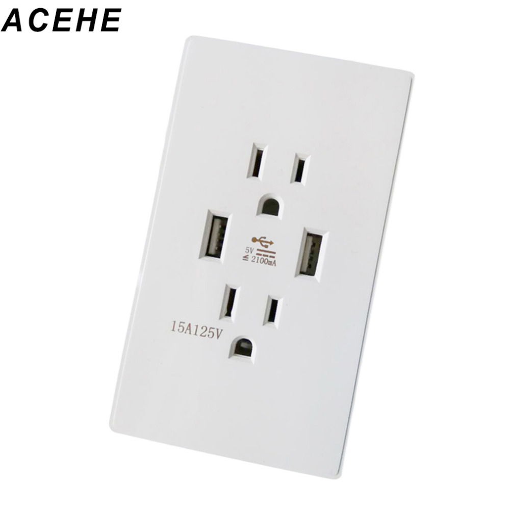 2017 New Professional Dual USB Power Wall Charger Dock Socket Electric Power Outlet Panel Plate White US Plug Type