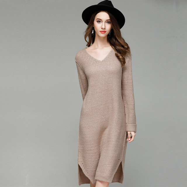 41226f58cb87 2018 Loose long sweater women Spring and autumn Europe and USA style white  brown and gray knitted v-neck sweaters YH7130