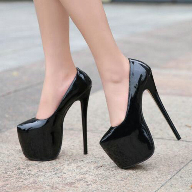 35-44 Size women Super High Heels 18cm shoes Concise 8CM platforms shoes pumps Wedding Party Sexy leather shoes zapatos MC-47