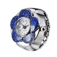 Meboyixi Brand Meboyixi Women Finger Ring Watch Flower Dial Arabic Numerals Analog Quartz Fashion Unique Girl