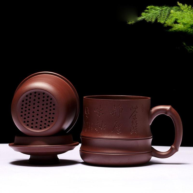 Chinese Drinkware Yixing Purple ClayTea Cup 450ml Ceramic Purple Grit Mug with Filter Lid Zisha Health
