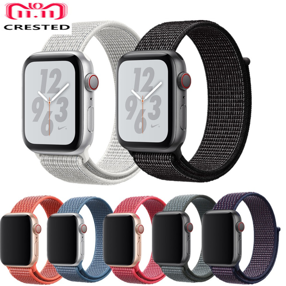 Correa de bucle deportivo CRESTED para Apple Watch 4 44mm 40mm Iwatch series 3 2 1 tejido de nailon transpirable pulsera de muñeca cinturón ligero