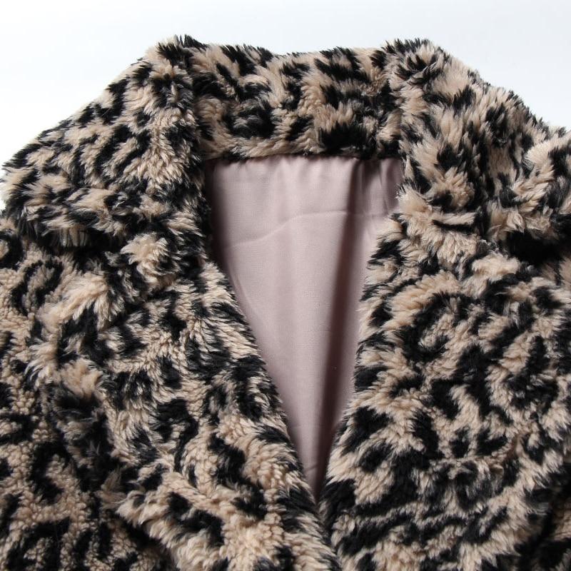 Leopard Giacca Agnello Donne Faux Lana Pelliccia Caldo Cappotto 2018 Più Delle Del Di Il Spessore Formato Leopardo Inverno Outwear Dell'annata qEHa4