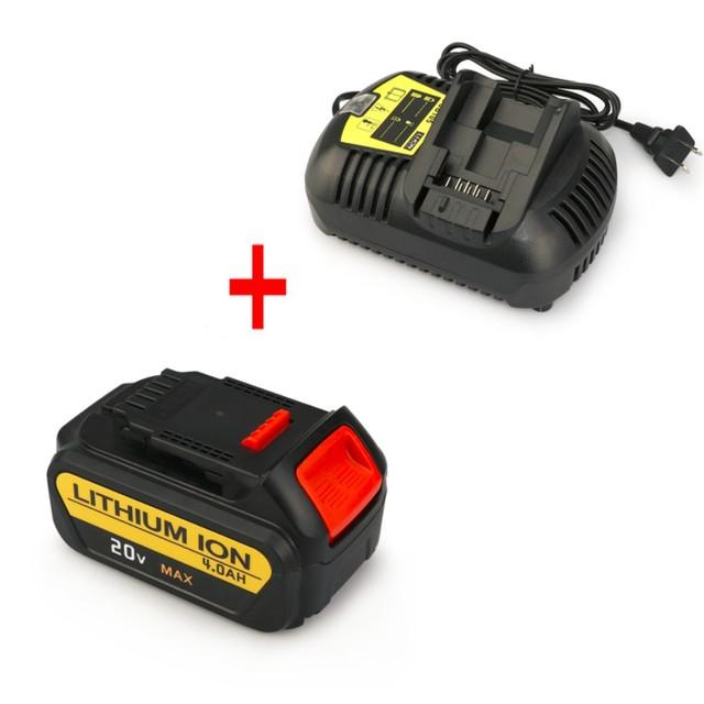 MELASTA Bateria de iões de Lítio de 20 V 4000 mAh + Carregador para Ferramentas Dewalt XR Li-ion bateria 20 V MAX DCD780 DCD780B DCF885B DCF885C2