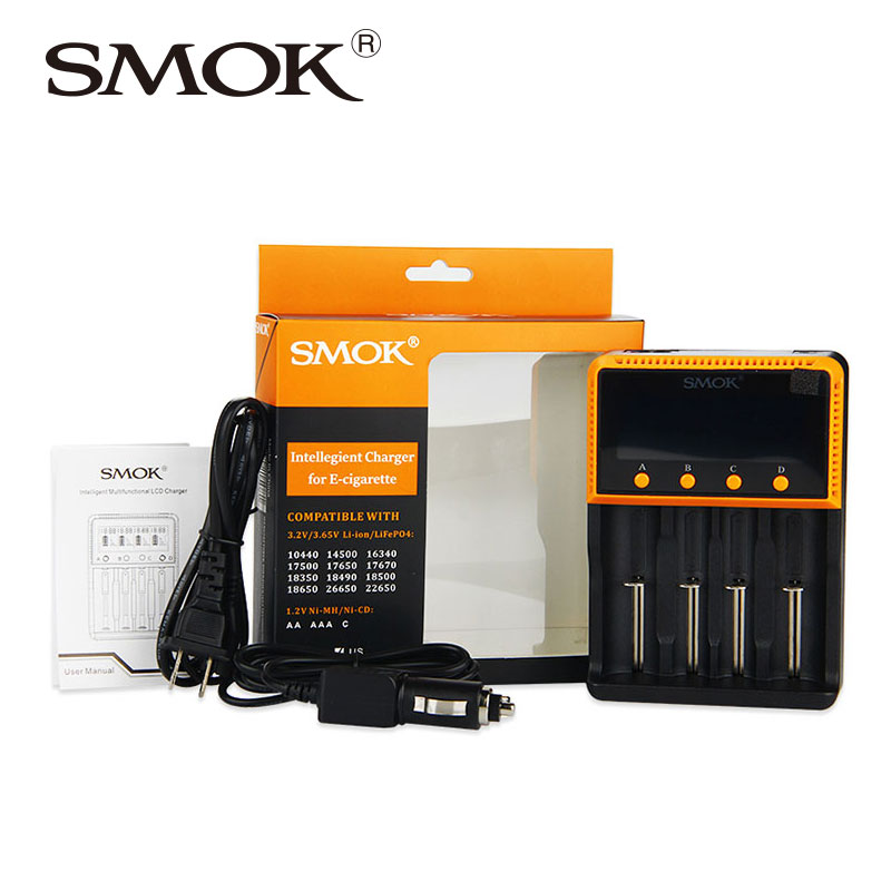 SMOK Intelligent 4-Slot 18650 Battery Charger Portable Smart Li-ion/Li-FePO4/Ni-MH/Ni-CD 18350/18650/26650/22650 Battery Charger liitokala 2pcs li ion 18650 3 7v 2600mah batteries rechargeable battery with portable battery box and 2 slots usb smart charger