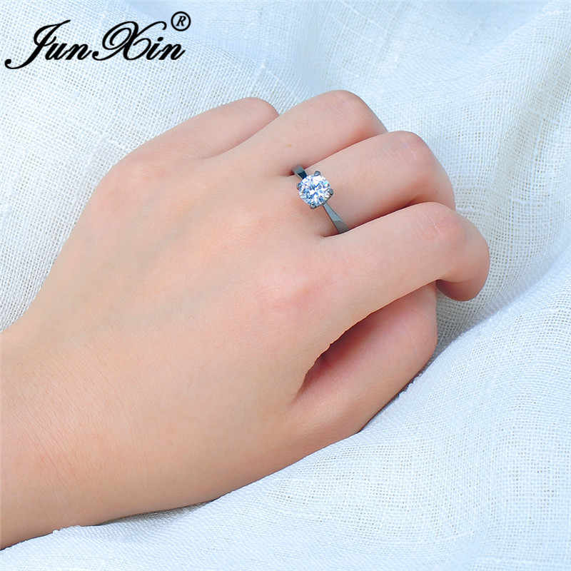 Junxin Multicolor Zircon Round Tipis Cincin untuk Wanita Emas Hitam Diisi Merah Biru Putih Merah Muda Batu Pernikahan Band Minimalis Perhiasan