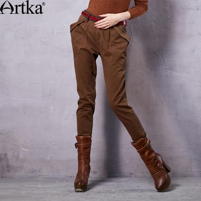 a0dbf83c2f3 ARTKA Women s Autumn New Vintage Solid Comfy Pencil Pants Casual All-match Harem  Pants KX15257Q