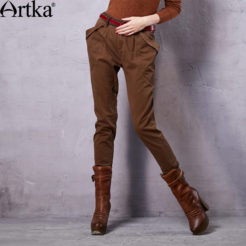 Artka Women's Autumn New Vintage Solid <font><b>Comfy</b></font> Pencil Pants <font><b>Casual</b></font> All-match Harem Pants KX15257Q