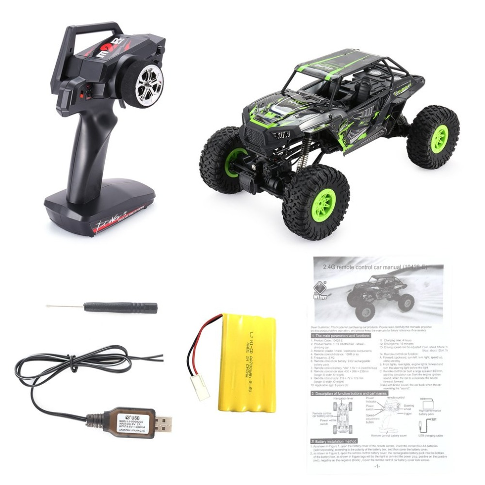 Wltoys 10428-E 1/10 2.4G 4WD Electric Rock Climbing Crawler RC car Desert Truck Off-Road Buggy Vehicle with LED Light RTR hsp 1 10 off road buggy body 2pcs 31 17 6cm 10706 10707 106ma2 rc car electric rc car bodyshell for 94107 94107pro