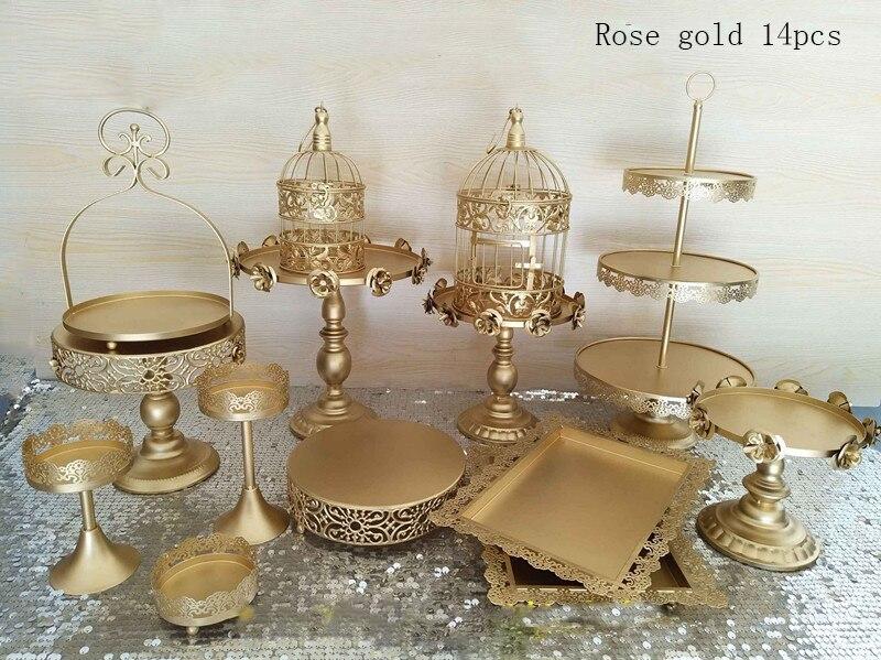 Ensemble de support de gâteau de mariage en or 14 pièces support de cupcake barware décoration outils de gâteau de cuisson ensemble de vaisselle de fête