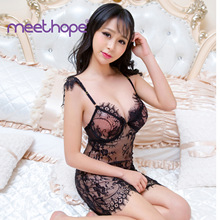 Erotic underwear Europe and America sexy lace conjoined transparent exotic clothes role-playing