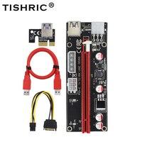 TISHRIC 100Pcs 009S Pci Express 4Pin 6Pin Molex USB Adapter Cable Riser Card M2 1x 16x Dual 6Pin Pci-e Extender For BTC Miner
