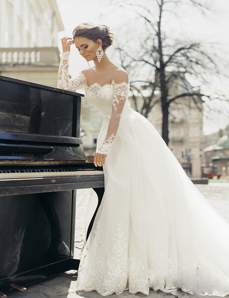 Buy elegant long sleeves white ball gowns for Where to buy yasmine yeya wedding dresses
