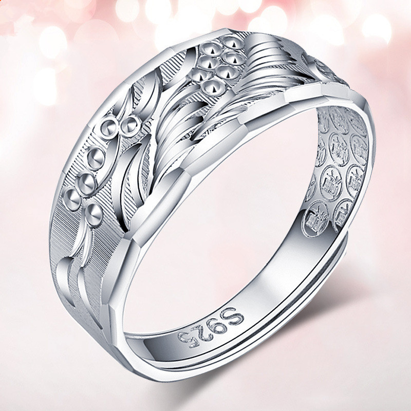 Pipnut 925 Sterling Silver Rings for Men Adjustable size Unique The Dragon Pattern S925 Sterling Silver Ring Men Jewelry PN001