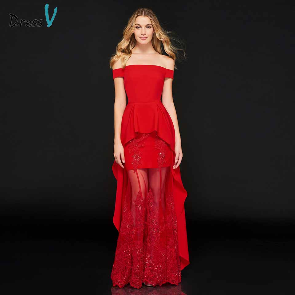 Dressv red evening dress off the shoulder beading a line lace zipper up floor-length wedding party formal dress evening dresses