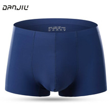 DANJIU Ice Silk Boxer Shorts Sexy Men Breathable Underwear Slip Homme 4XL Plus Size Cuecas panties Mens Solid smooth Underpants