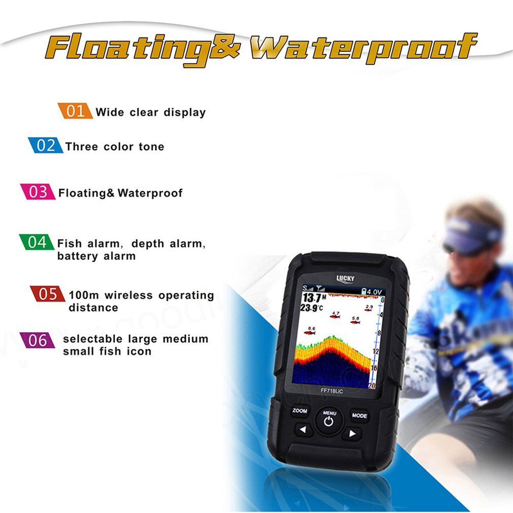 New Lucky FF718LiC-W Waterproof Fish Finder Monitor with LCD Colored Display Wireless Smart Sonar Sensor Fish Depth Alarm