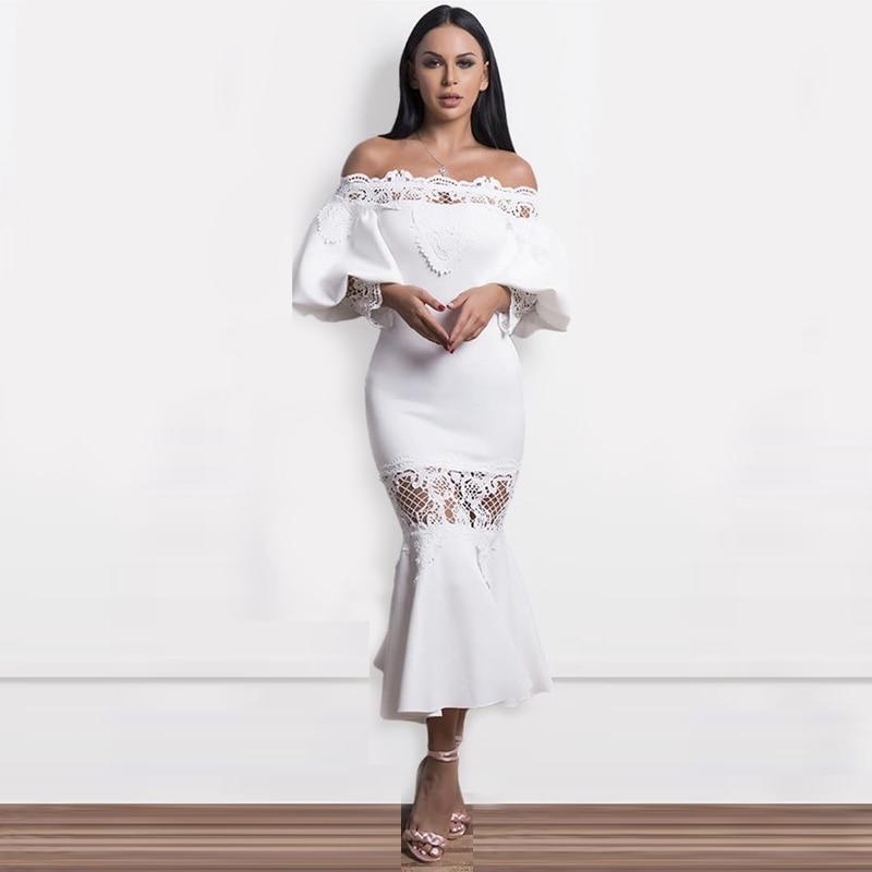 INDRESSME Off The Shoulder Split Floral Lace Bandage Dress Long Sleeve Print Fashion For Women 2018 Party Dresses-في فساتين من ملابس نسائية على  مجموعة 3