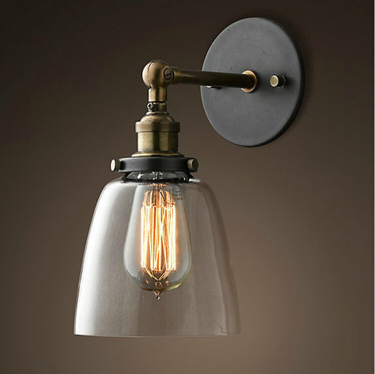 Vintage Retro Industrial Edison Glass Light Bedside Wall Mount Light Sconces Aged Steel Finished Antique E27 LED Lamp mds89664h steel bedside commode