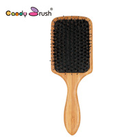 Boar Bristle Female Wooden Combs Paddle Brush Wooden Hair Care Healthy Cushion Massage Hairbrush Comb For