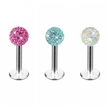 1x 4MM Luxury Stainless Steel Crystal Ball Bar Tragus Stud Earring Lip Body Piercing Gift 1.2MM Thickness Promotion Multicolor